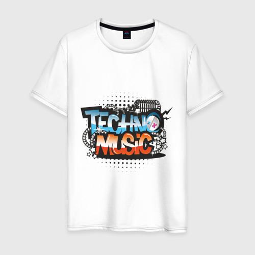 Мужская футболка хлопок techno music