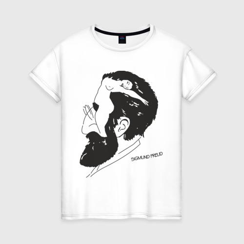 Женская футболка хлопок Портрет Зигмунда Фрейда
