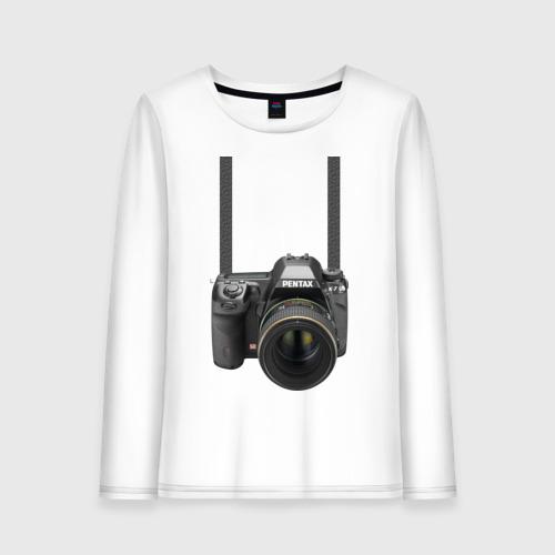 Женский лонгслив хлопок Фотоаппарат на шее
