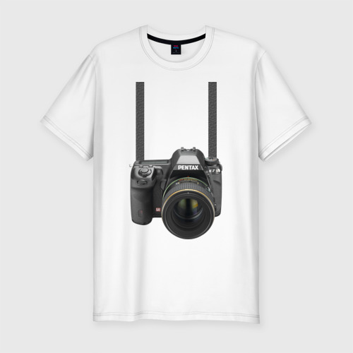 Мужская футболка хлопок Slim Фотоаппарат на шее