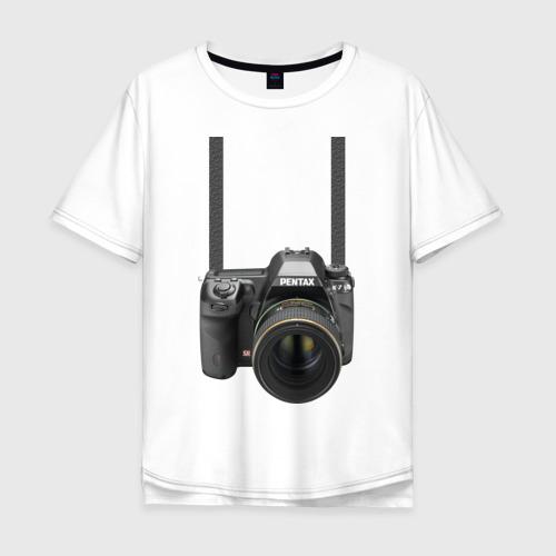 Мужская футболка хлопок Oversize Фотоаппарат на шее