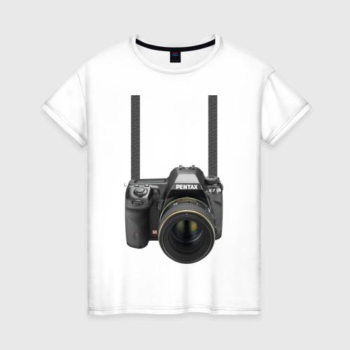 Женская футболка хлопок Фотоаппарат на шее