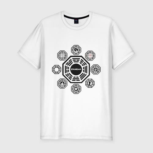 Мужская футболка хлопок Slim LOST - Все станции Dharma