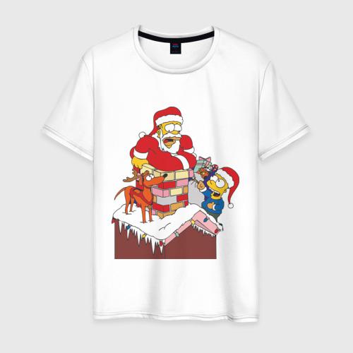 Мужская футболка хлопок Симпсоны новый год