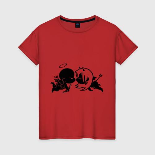 Женская футболка хлопок Ангелочек и чертик