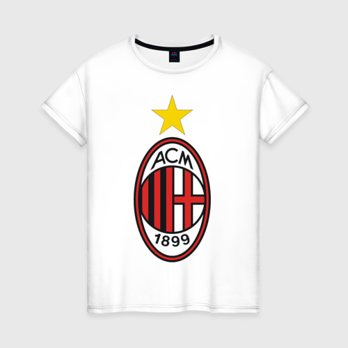 Женская футболка хлопок Italian Serie A. AC Milan