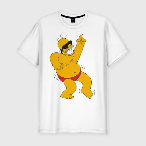 Мужская футболка хлопок Slim Гомер симпсон танцует