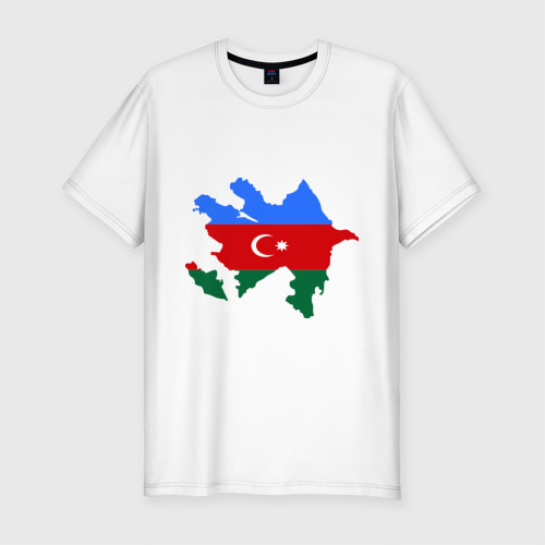 Мужская футболка хлопок Slim Azerbaijan map