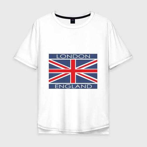 Мужская футболка хлопок Oversize London - Лондон с флагом Англии