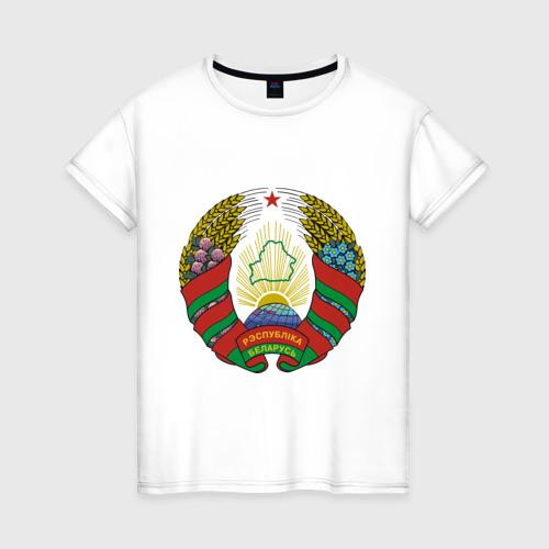 Женская футболка хлопок Белоруссия герб