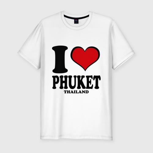 Мужская футболка хлопок Slim I love Phuket