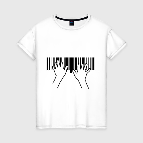 Женская футболка хлопок Фортепиано штрихкод