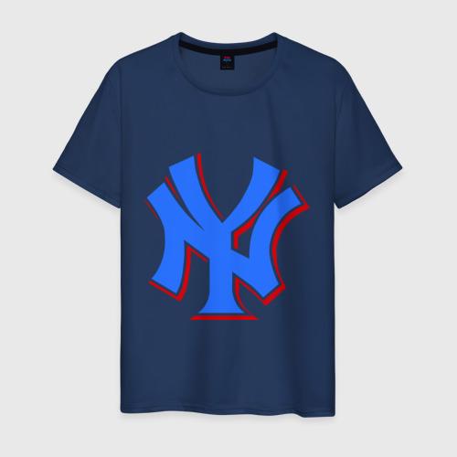 Мужская футболка хлопок NY Yankees blue (3)