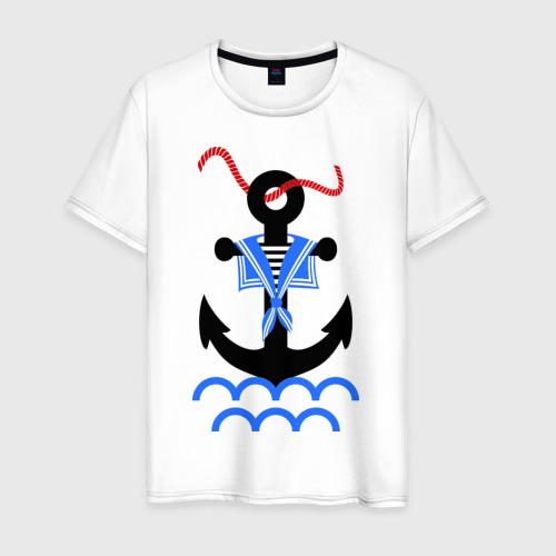 Мужская футболка хлопок морской якорь