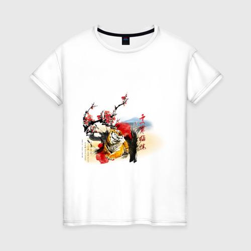 Женская футболка хлопок Тигр принт