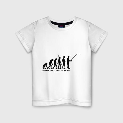 Детская футболка хлопок Рыбак. Эволюция