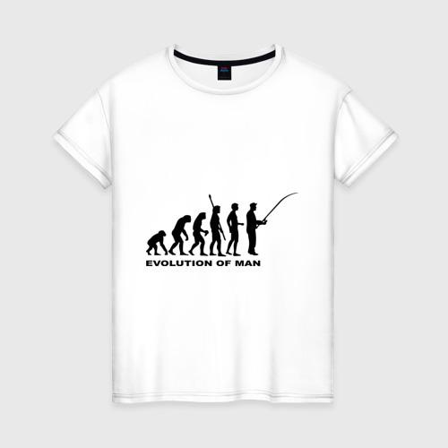 Женская футболка хлопок Рыбак. Эволюция
