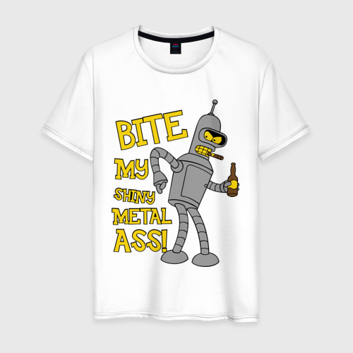 Мужская футболка хлопок BENDER (укуси мой полированный металлический зад)