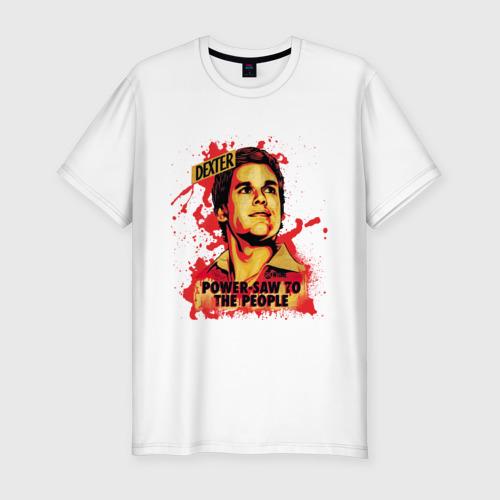 Мужская футболка хлопок Slim Power-saw to the people