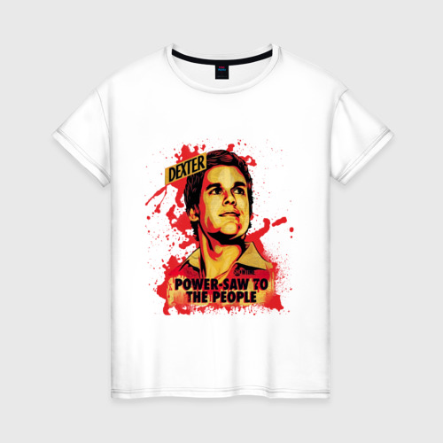 Женская футболка хлопок Power-saw to the people
