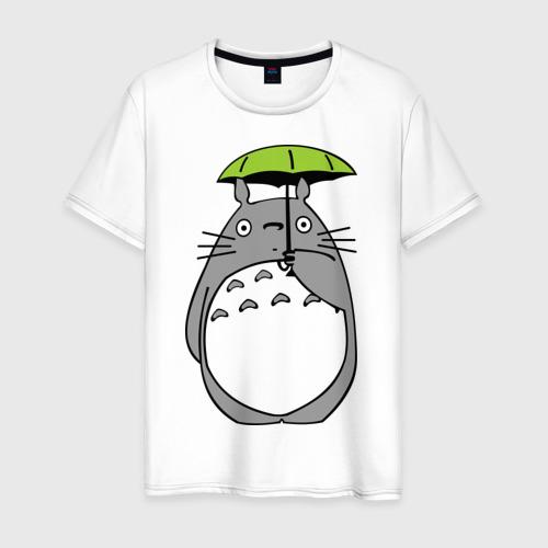 Мужская футболка хлопок totoro с зонтом