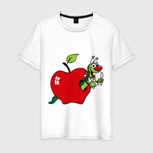 Мужская футболка хлопок Яблочко с червячком