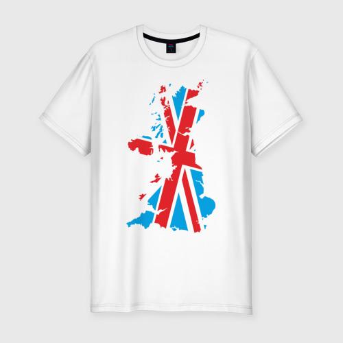 Мужская футболка хлопок Slim карта британии