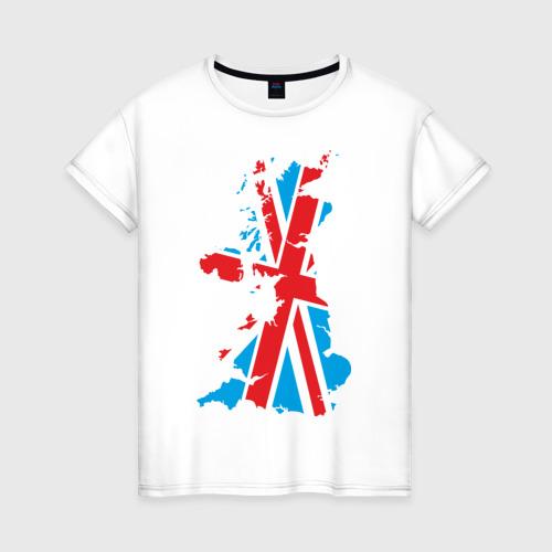 Женская футболка хлопок карта британии