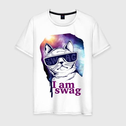 Мужская футболка хлопок Space cat swag