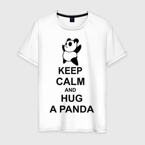 Мужская футболка хлопок keep calm and hug a panda