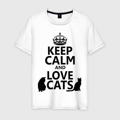 Мужская футболка хлопок Keep calm and love cats.