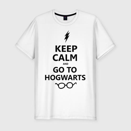 Мужская футболка хлопок Slim Keep calm and go to hogwarts.