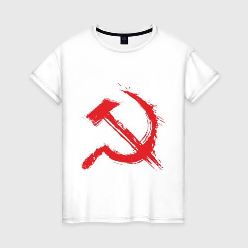 Женская футболка хлопок Cерп и молот.