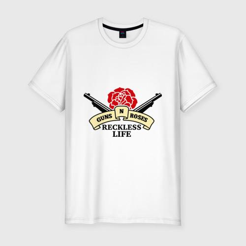Мужская футболка хлопок Slim GNR reckless life