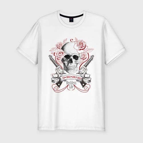 Мужская футболка хлопок Slim Sex Drugs Guns n roses