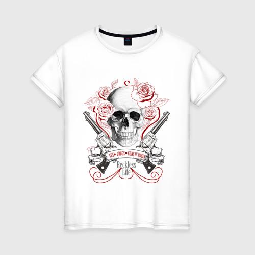 Женская футболка хлопок Sex Drugs Guns n roses