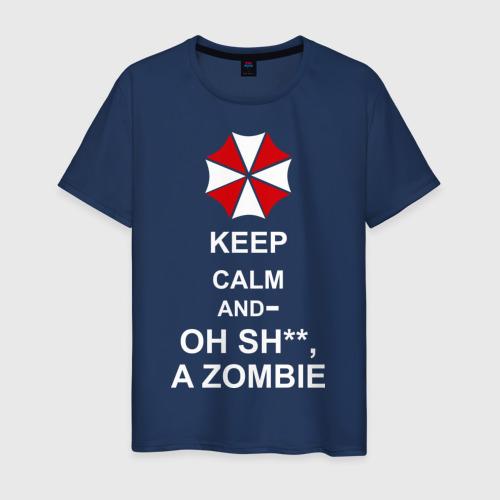 Мужская футболка хлопок Keep calm and oh sh**, a zombie