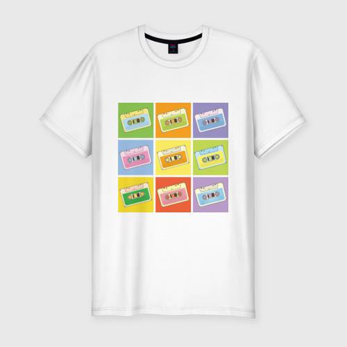 Мужская футболка хлопок Slim Кассеты поп-арт