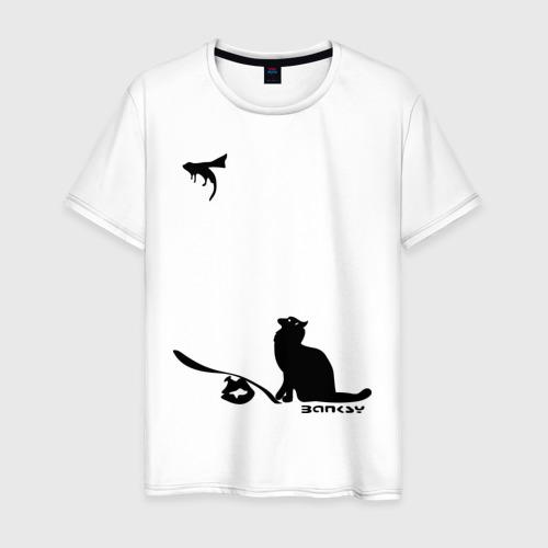 Мужская футболка хлопок Cat and supermouse (Banksy)