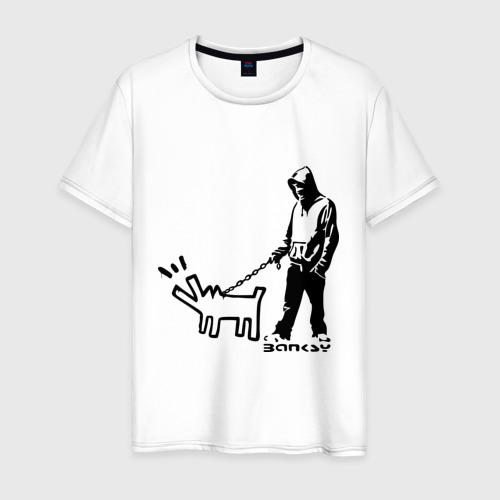Мужская футболка хлопок Парень с собакой (Banksy)
