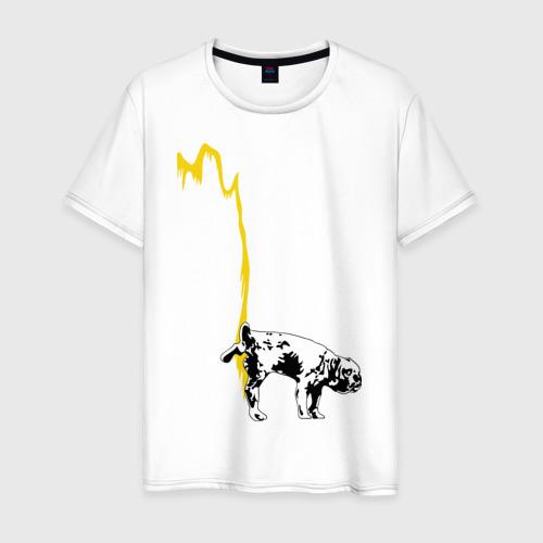 Мужская футболка хлопок Peeing dog (Banksy)
