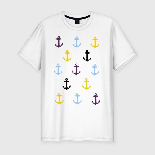 Мужская футболка хлопок Slim Anchors pattern