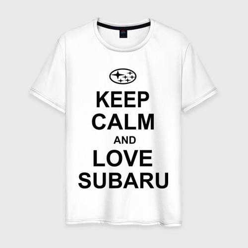 Мужская футболка хлопок keep calm and love subaru