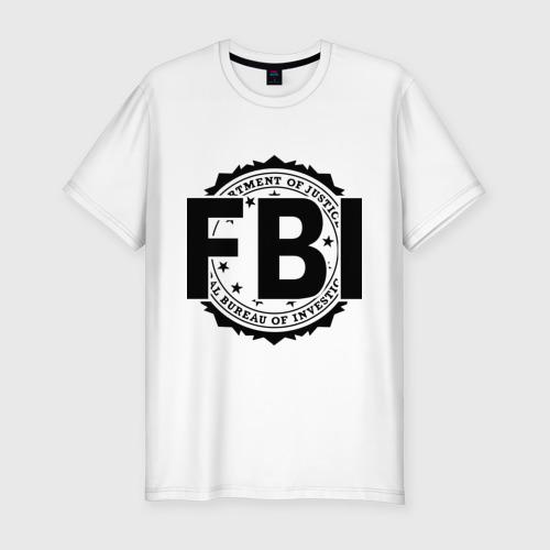 Мужская футболка хлопок Slim FBI LOGO