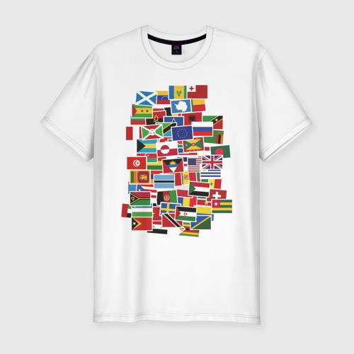 Мужская футболка хлопок Slim Flag sticker bombing