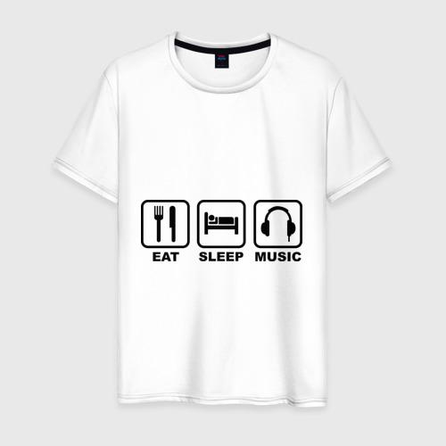Мужская футболка хлопок Eat Sleep Music (Еда, Сон, Музыка)