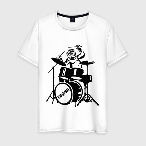 Мужская футболка хлопок Обезьяна с барабанами