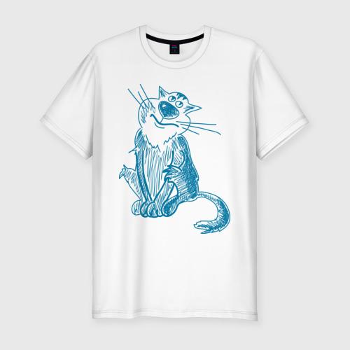 Мужская футболка хлопок Slim Котик