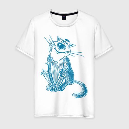 Мужская футболка хлопок Котик