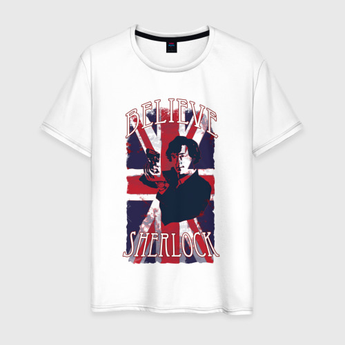 Мужская футболка хлопок Шерлок Холмс Английский Флаг